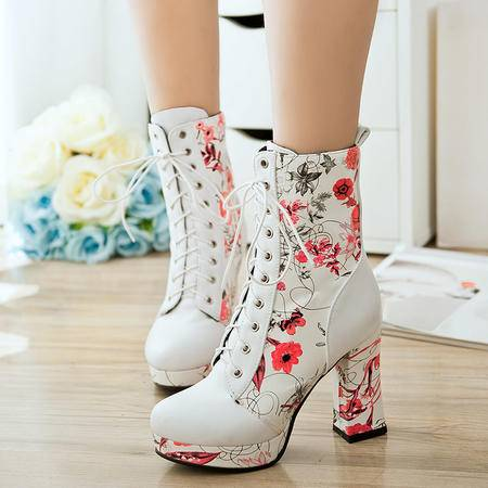 彩色印花时尚短靴秋季新款系带及裸靴高跟粗跟马丁靴大码女靴