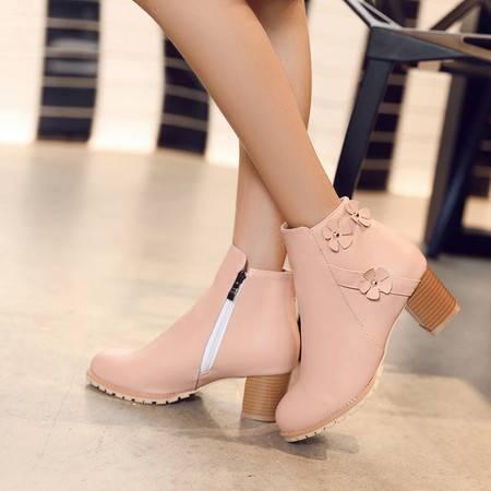 2016新款甜美粗跟马丁靴短靴女春秋单靴短筒女靴子高跟女鞋冬季