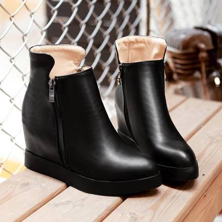 2016秋冬新款双峰骆驼真皮女单靴平底中跟妈妈鞋羊毛短靴棉鞋潮女
