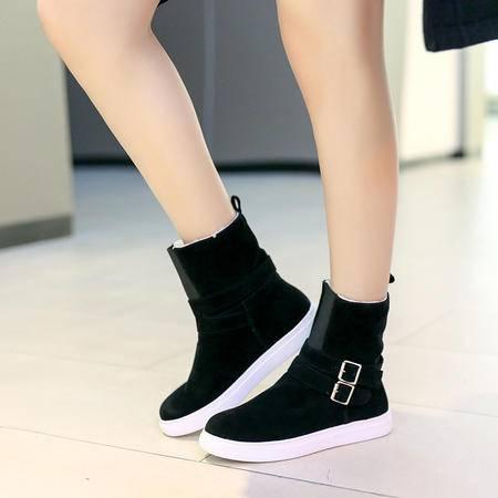 冬季雪地靴加绒保暖学生平底大码短靴女 女英伦风休闲防滑靴子短
