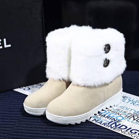 2016冬季新款韩版时尚内增高短靴女学生保暖毛毛鞋厚底圆头雪地靴