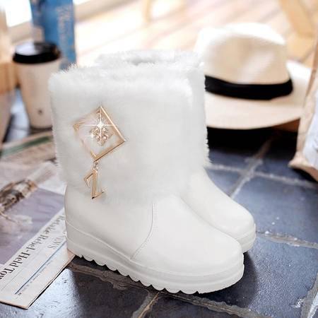 2016冬季韩版甜美学生雪地靴女鞋厚底中跟防滑毛毛保暖短靴棉靴子