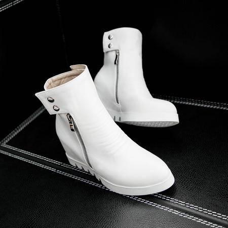 秋季新款欧美坡跟女鞋内增高尖头高跟短靴防水台及裸靴马丁靴
