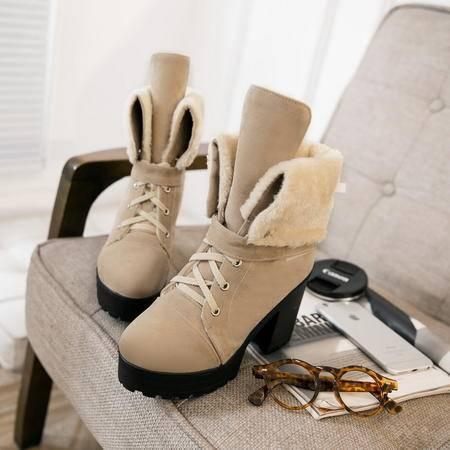 2016英伦加绒马丁靴厚底女鞋冬短筒雪地靴粗跟高跟短靴防水台女靴