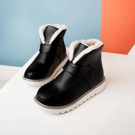 平底雪地靴女韩版简洁百搭冬季新款防滑底魔术贴短筒女靴保暖棉鞋