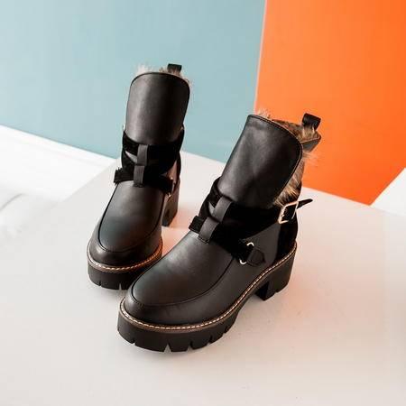 粗跟雪地靴女冬季加绒短靴女粗跟欧美复古短筒马丁靴短筒雪地靴女