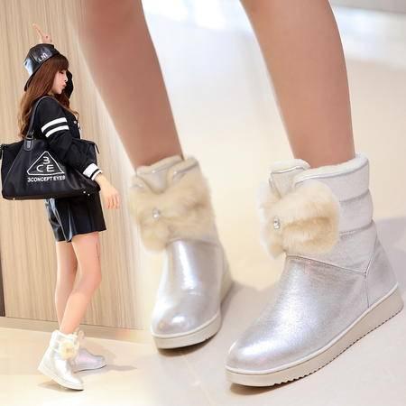 2016秋冬女中大童短靴卡通棉靴毛靴女童公主小女孩学生短靴雪地鞋