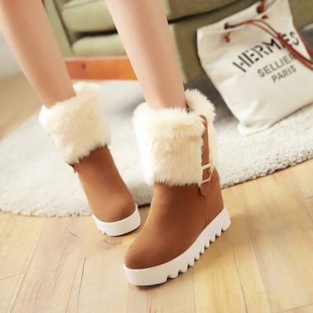 韩版圆头低跟雪地靴秋冬季加绒平底内增高短靴学生皮带扣女鞋