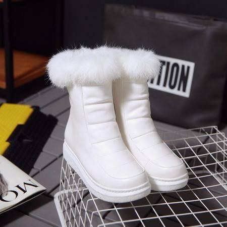 鞋靴女2016秋冬新款休闲圆头低跟拉链雪地靴坡跟防水台舒适中筒靴