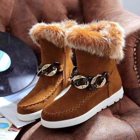 冬季磨砂真皮内增高短靴厚底兔毛雪地靴女短筒加绒棉鞋冬靴子女鞋