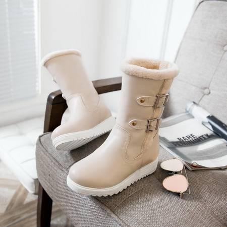 甜美韩版扣带平底短筒女靴加厚冬款学生雪地靴松糕女靴子