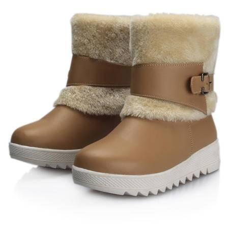 冬季加绒保暖中大童青少年中大学生短靴少女棉鞋圆头雪地棉靴