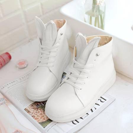 冬季雪地靴女短筒 学生平底马丁靴韩版加绒加厚短靴可爱保暖棉鞋
