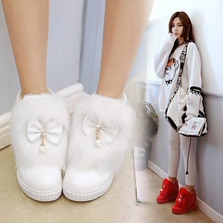 冬季平底韩版甜美蝴蝶结内增高毛毛白色雪地靴加厚棉鞋短靴女靴子
