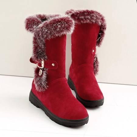 冬季磨砂真皮防滑雪地靴兔毛长靴女学生保暖靴修身中筒靴平跟女靴