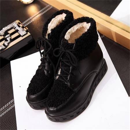 冬季保暖雪地靴女短筒系带加厚底内增高平底防滑圆头