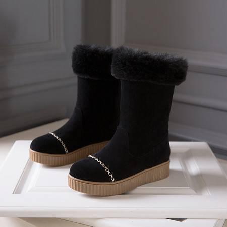 冬款少女大学生厚底松糕跟短筒雪地靴平跟孕妇厚毛毛雪地靴毛靴子