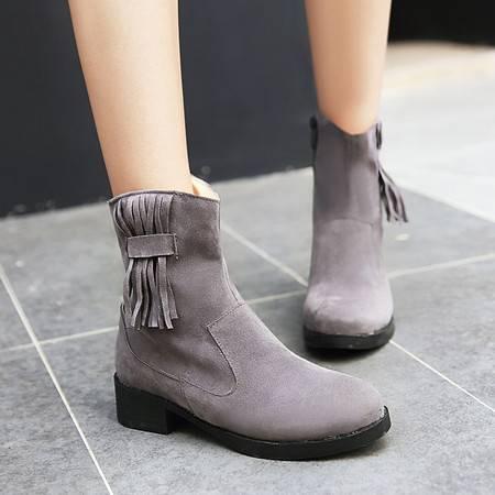 2016新款女靴磨砂真皮粗跟中筒靴厚底马丁靴金特 百丽保暖雪地靴