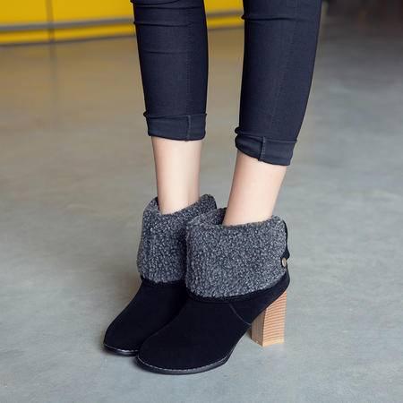 2016秋冬季新品中跟中筒靴粗跟短靴毛毛外翻雪地靴后拉链两穿女靴