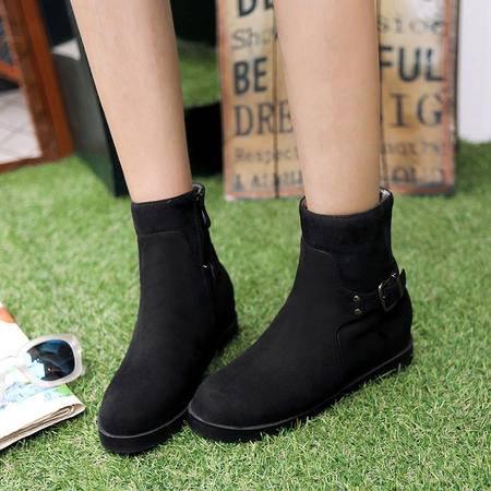 2016新款欧美短靴主推款 雪地靴纯色靴子 时尚简约大方内增高