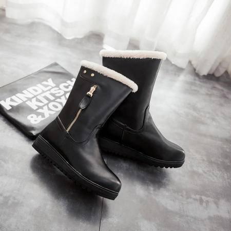 2016冬季新款女童靴子厚毛防寒冬靴中大童少女初中学生中筒雪地靴