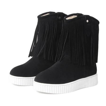 简约中跟防水防滑厚底平底雪地靴女流苏韩版短靴加绒加厚冬季百搭