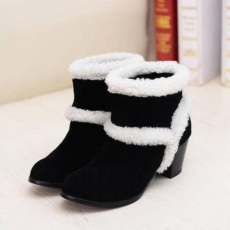 2016秋冬新款女靴子中跟短筒圆头韩版粗跟套筒防滑耐磨雪地靴