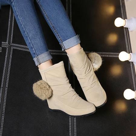 2016冬季女短筒靴平底内增高保暖毛球靴子棉鞋雪地靴学院风女鞋潮