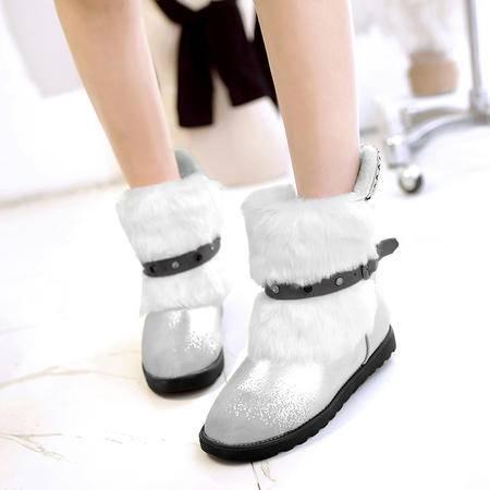 2016新款雪地磨砂圆头平跟平底耐磨复古短靴保暖时尚冬靴女靴子