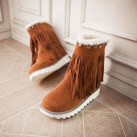 冬季新款雪地靴时尚磨砂加绒流苏靴韩版平跟厚底防滑短筒靴