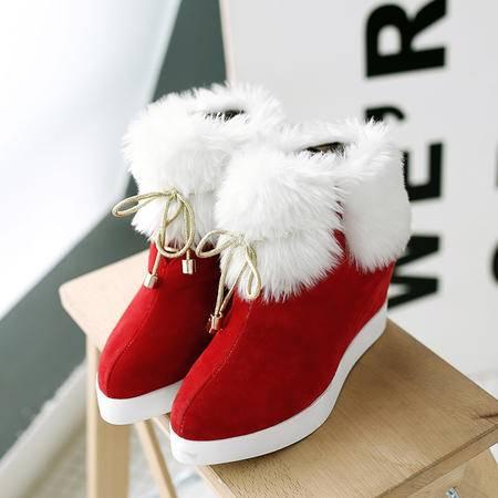 雪地靴女短筒真皮加绒保暖短靴2016冬季韩版潮方头棉鞋女靴子女鞋