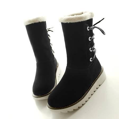 雪地靴女中筒加厚保暖女靴子2016冬季棉靴学生靴平跟鞋女鞋子