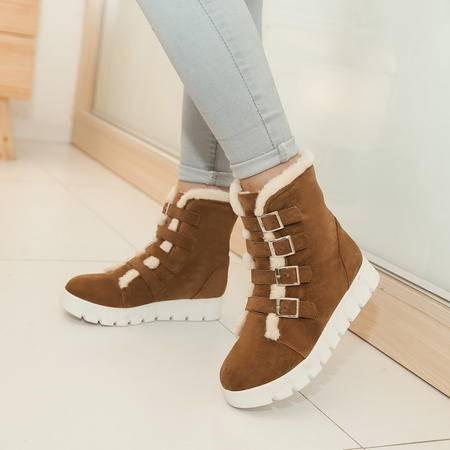 2016年冬季冬天新款流行女平底鞋子加绒加棉保暖雪地靴长靴子短靴