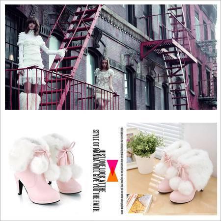 秋冬新款短靴女甜美厚毛毛鞋粗高跟雪地靴中筒靴女棉靴子