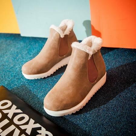 新款女雪地靴平底厚底高棉靴学生短靴保暖防滑