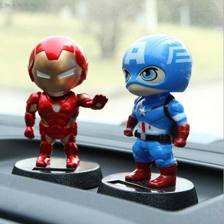 钢铁侠美国队长 太阳能汽车摆件 创意车内饰品可爱摇头公仔娃娃