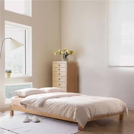 欧的家纺纯棉水洗棉小格系列时尚简约床单床笠床品四件套