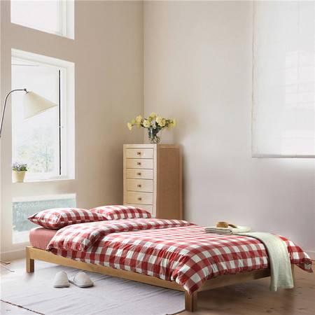 欧的家纺水洗棉纯棉中格欧美风全棉床品四件套1.5-1.8m