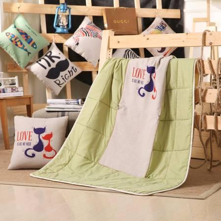 欧的家纺儿童抱枕被多用沙发汽车靠垫空调夏凉被45*45