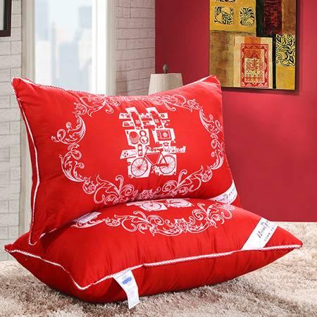 欧的家纺床上用品婚庆枕头喜庆羽丝绒枕芯