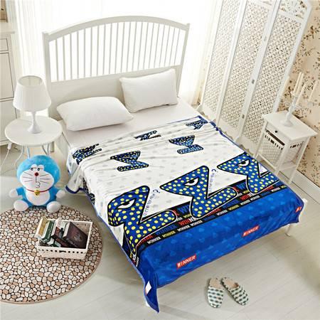 欧的家纺法莱绒学生儿童多用家用毛毯300克