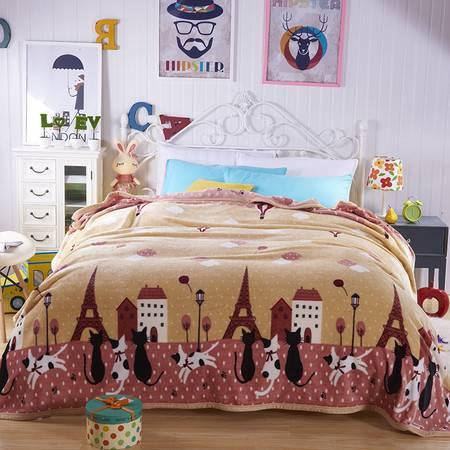 欧的家纺加厚貂绒毛毯多用沙发车用盖毯1.8-2.0米