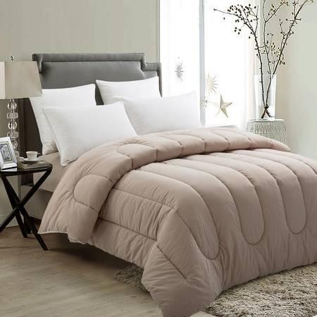 欧的家纺纯棉色织羽丝绒水洗棉时尚简约透气保暖纯棉冬被1.5-1.8米