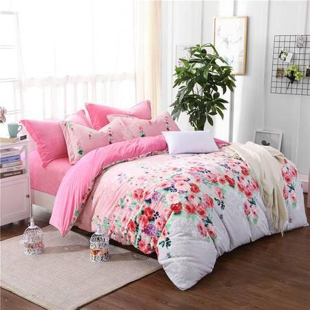 欧的家纺秋冬加厚纯棉双面水晶绒保暖防静电四件套全棉1.5-1.8米床铺