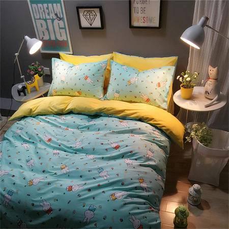 欧的家纺秋冬纯棉A棉B绒保暖防静电多用宝宝绒磨毛全棉四件套1.5-1.8米床铺