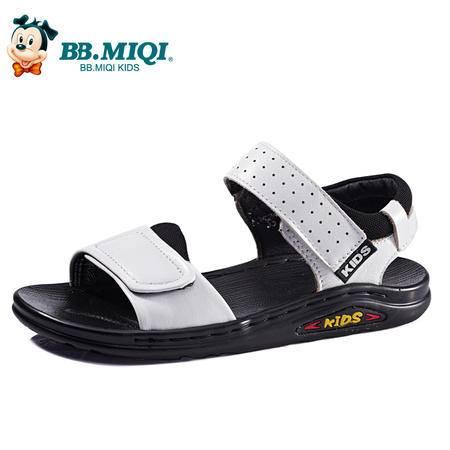 百变米奇童鞋 夏季新品男童凉鞋中小童真皮沙滩鞋露趾P3526129