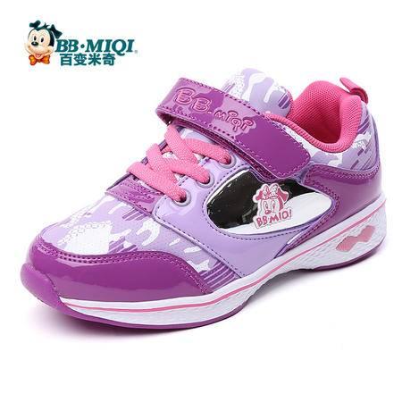 百变米奇童鞋女童鞋秋季新款女童公主鞋革面休闲鞋儿童鞋运动鞋女