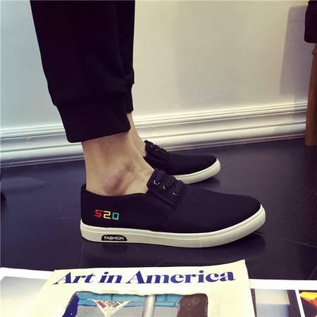 吉普夏季透气男士帆布鞋低帮韩版一脚蹬懒人鞋布鞋学生休闲鞋男鞋潮鞋