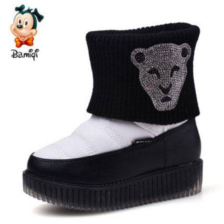 百变米奇童鞋小童靴子2016冬季新款低筒短靴韩版时尚小童儿童靴子