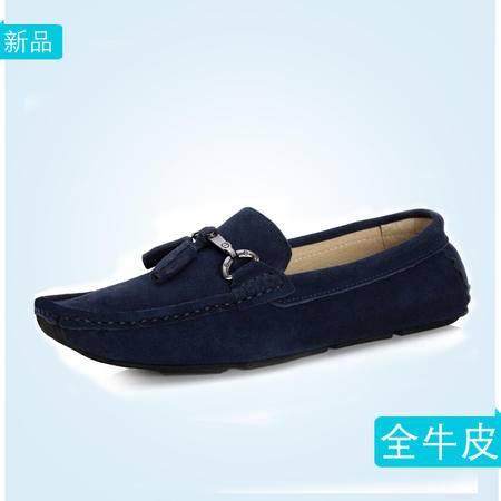 豆豆鞋男全皮懒人套脚鞋透气耐磨橡胶底真皮优质鞋明星款